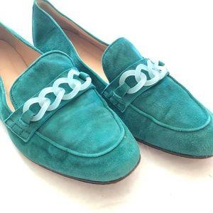 J Crew Teal Suede Embellished Loafers
